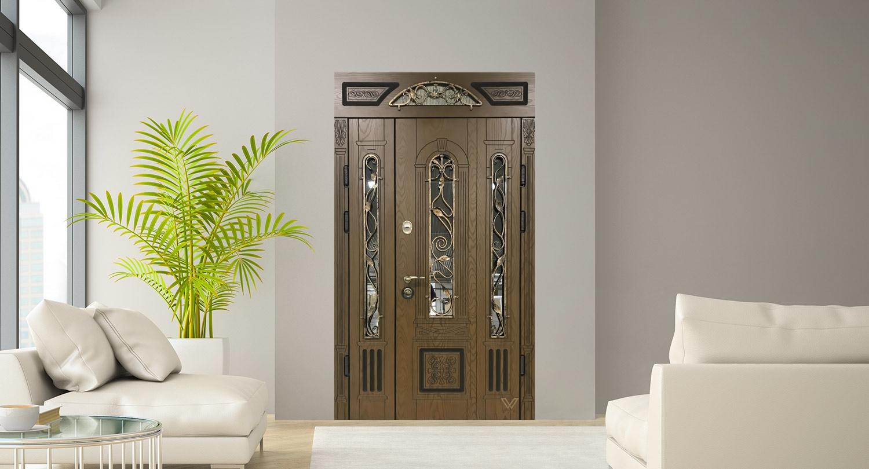 Вхідні двері з полімерними накладками, двополі, з ковкою і склопакетом