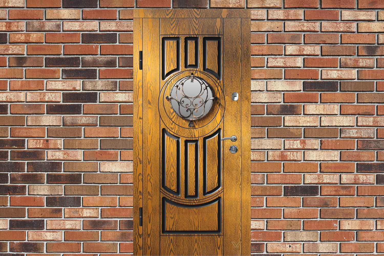 Вхідні двері з полімерними накладками, однополі з склопакетом та ковкою