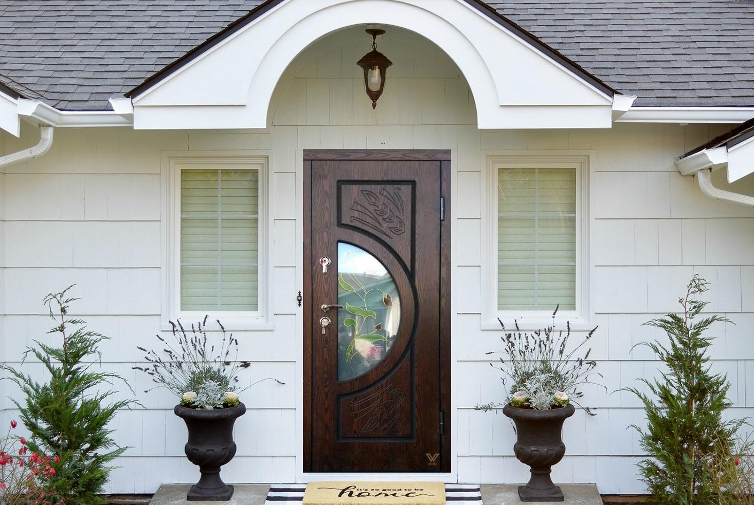 Вхідні двері з полімерними накладками, однополі з вітражем